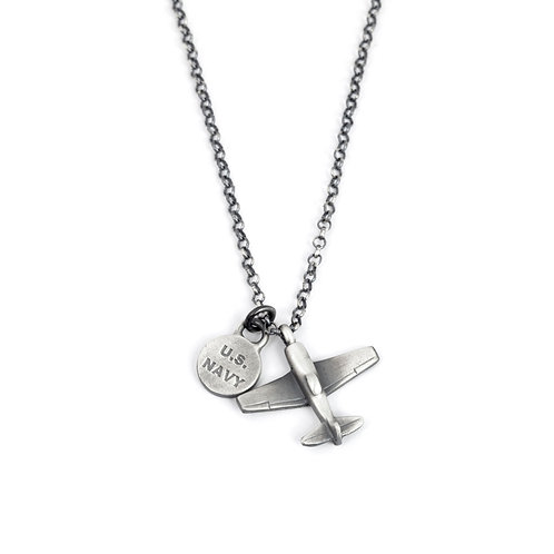 Military Gift Navy Pilot Gift, US Navy Airplane Necklace Men