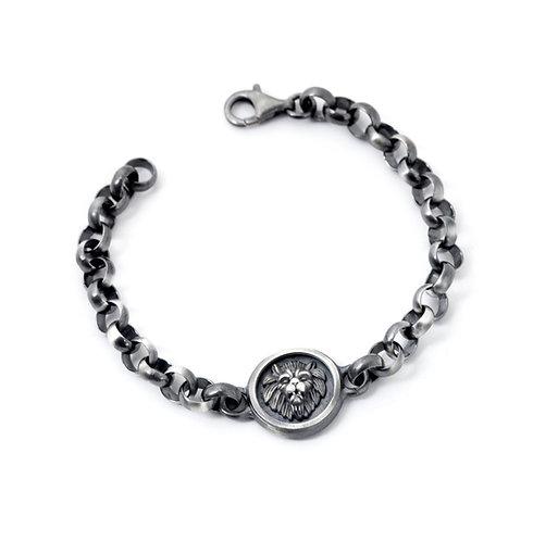 Sterling Silver Lion Head Bracelet Men