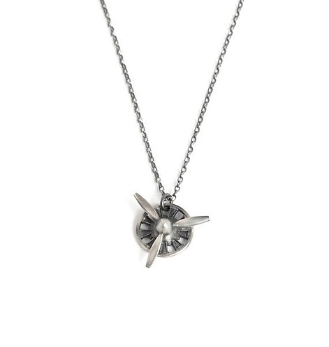 3 Blade Propeller Pendant Necklace Sterling Silver