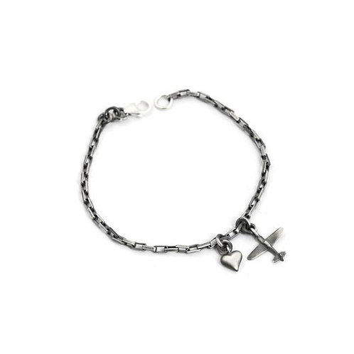 Heart and Airplane Charm Bracelet