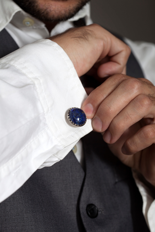 Lapis sterlig silver cufflinks