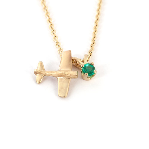 14K Gold Airplane Pendant Necklace with Emerald Birthstone Charm