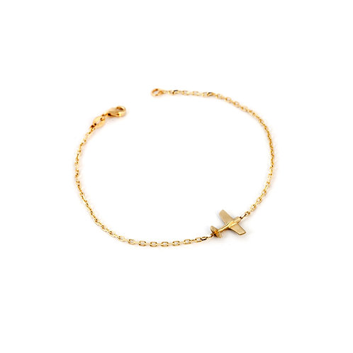 Delicate 14k Gold Bracelet with Charm, Airplane Charm