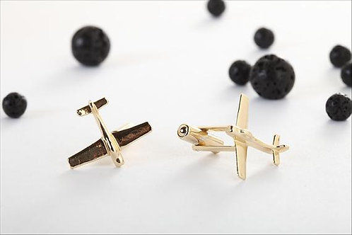 Gold Airplane Cufflinks