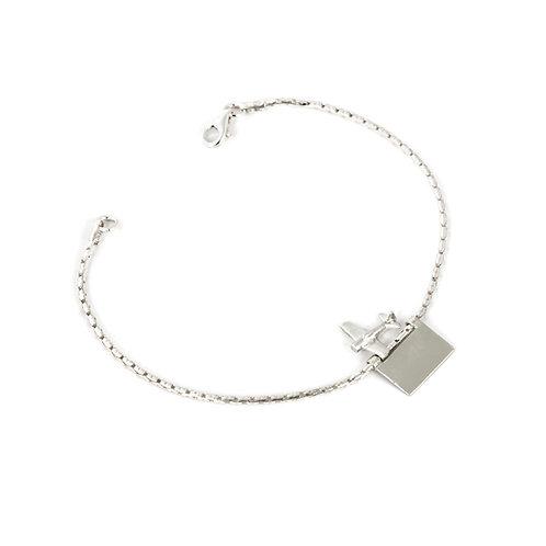 Personalized Sterling Silver Airplane Bracelet Men or Women