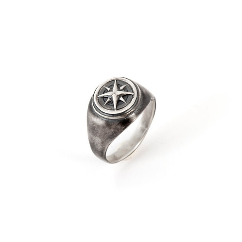 Nautical Compass Ring for Men, 925 Sterling Silver Compass Ring