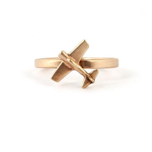 Gold Airplane Ring, Pilot Ring