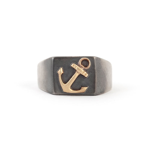 Unisex Nautical Ring Gold and Silver, Anchor Signet Ring