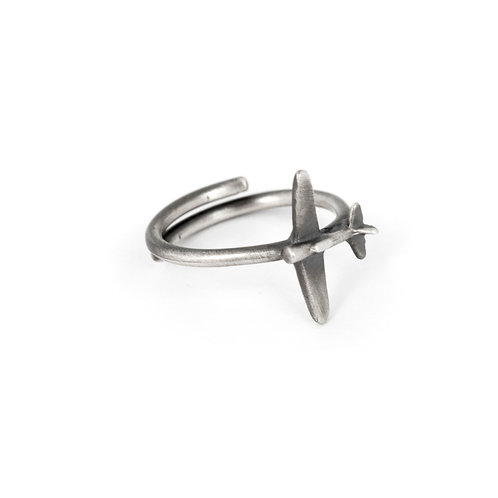 Womens Airplane Ring Sterling Silver