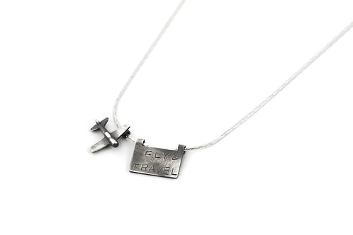 Sterling Silver Airplane Necklace for Men or Women