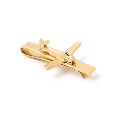 Airplane Tie Clip Gold Plated Tie Clip 14K