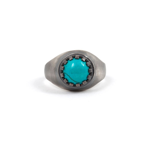 Turquoise Ring Sterling Silver Men, Genuine Turquoise and Silver Ring Size 10