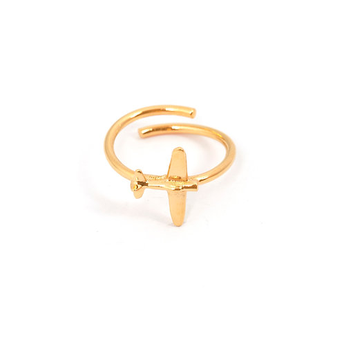 14K Gold Airplane Ring, Aviation Gifts for Women