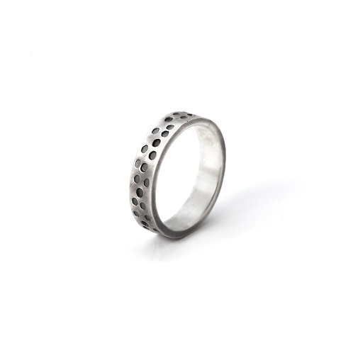 Sterling Silver Textured Men's Ring Band Circle Design