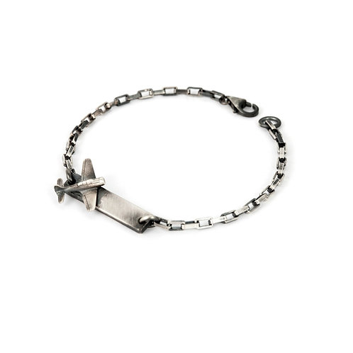 Airplane Bracelet, Sterling Silver Airplane ID Bracelet