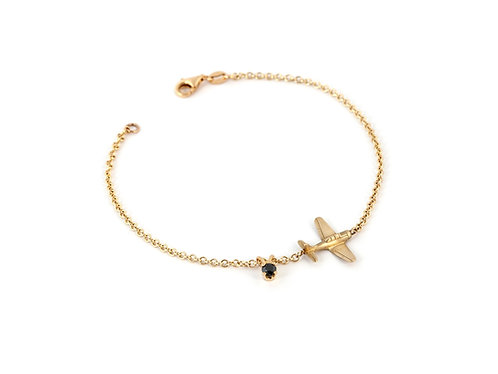 14K Gold Airplane Charm Bracelet with Black Diamond Charm