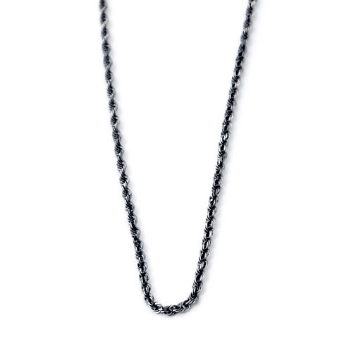 Mens Rope Chain Sterling Silver Necklace