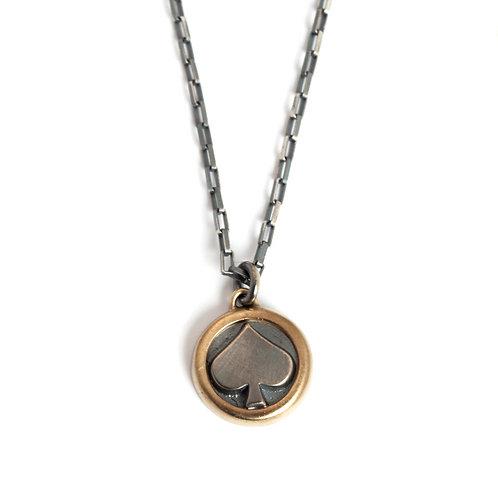 Sterling Silver Spade Pendant Necklace in 14K Gold for Men or Women