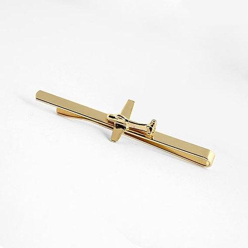 Gold airplane tie clip, tie bar, tie tac