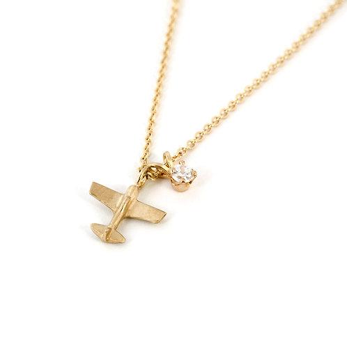 Gold Airplane Pendant Necklace, White Diamond Charm Necklace, Flight