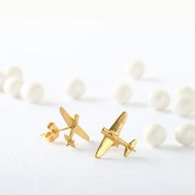 Airplane Gold Earrings, Gold Stud Earrings, Post Earrings, Airplane Jewelry, Fem