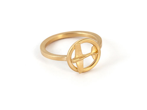 14k Gold Airplane Ring for Women, Plane Ring Band,Female Pilot Ring
