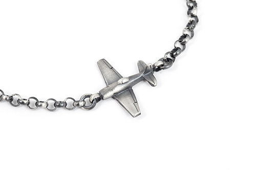 Aviation Gifts for Men, Silver Airplane Bracelet, Airplane Gift for Him