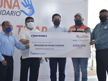 SE SUMA SÚPER GUTIÉRREZ A ACUÑA SOLIDARIO, CON LA DONACIÓN  DE 500 MIL PESOS PARA DESPENSAS.