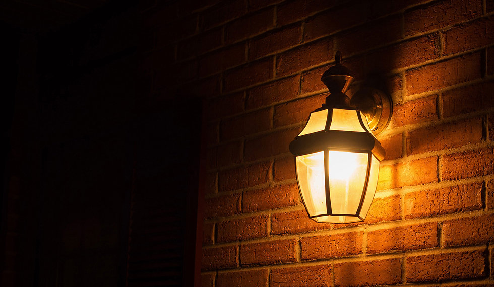 porch light with gold bulb