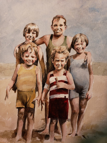 5 Siblings At The Beach