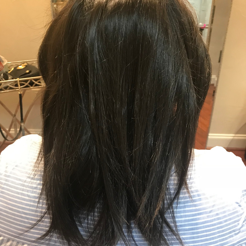 Before the de-frizzing treatment