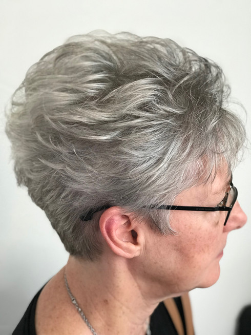 Embracing grey hair with a fabulous cut.