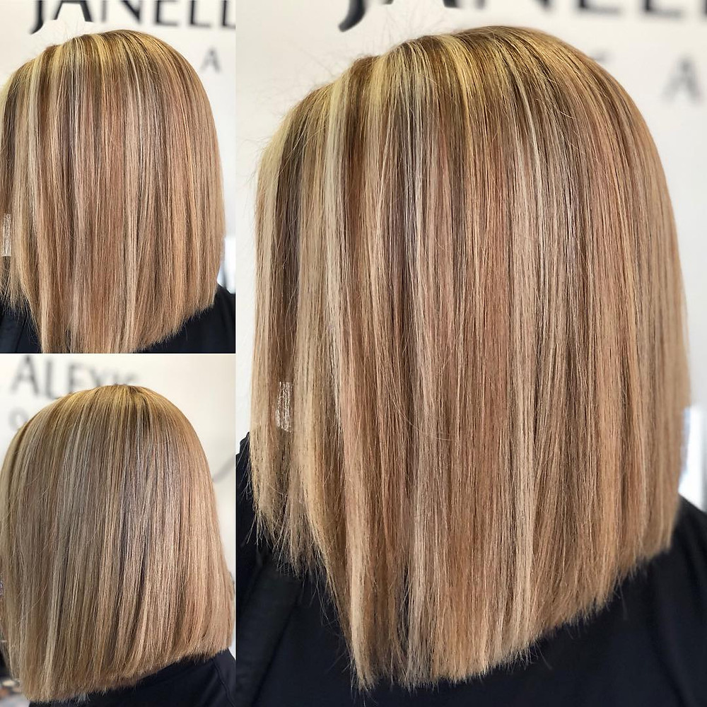 Recent global keratin smoothing hair treatment for anti-frizz in Houston humidity at Janelle Alexis Salon