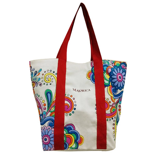 Natural Floral Cotton Tote