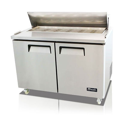 "Migali C-SP48-18BT 48"" Mega Top Bain Marie Sandwich Prep Refrigerator - 18 Pans"