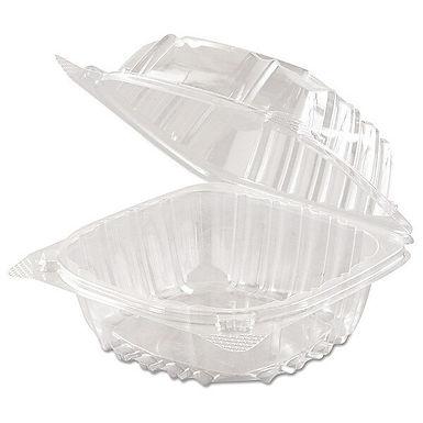 "Dart C57PST1 6"" x 5 13/16"" x 3"" Hinged Lid Plastic Container - 500/Case"