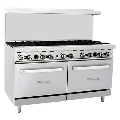 "Migali C-RO10 60"" 10 Burner Gas Range with 2 Ovens"