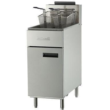 """Migali C-F50 15"""" Stainless Steel Floor Fryer - 50 lb."""