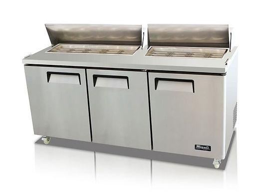 "Migali C-SP72-18 72"" Standard Top Bain Marie Sandwich Prep Refrigerator - 18 Pan"
