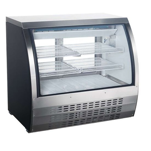 "Universal FCI-48-SC 48"" Refrigerated Deli Meat Display Case, Curved Glass, S/S"