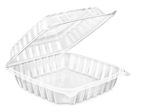 "Dart C90PST1 8 5/16"" x 8 5/16"" x 3"" Hinged Lid Plastic Container - 250/Case"