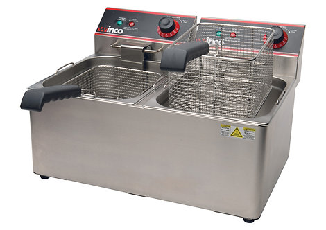 Winco EFT-32 Countertop Electric Fryer - (2) 16 lb Vats, 120v
