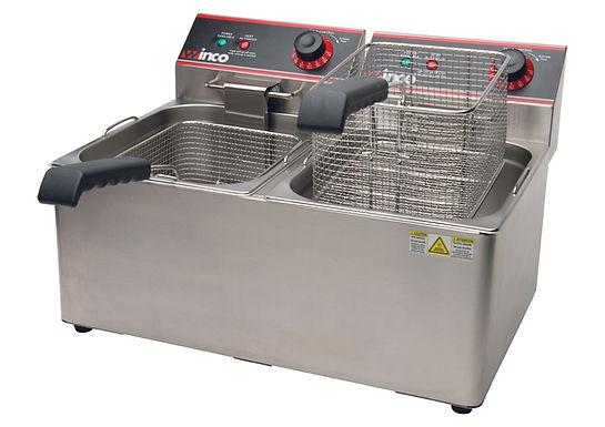 Winco EFT-32 Countertop Electric Fryer - (2) 16 lb Vats, 120v