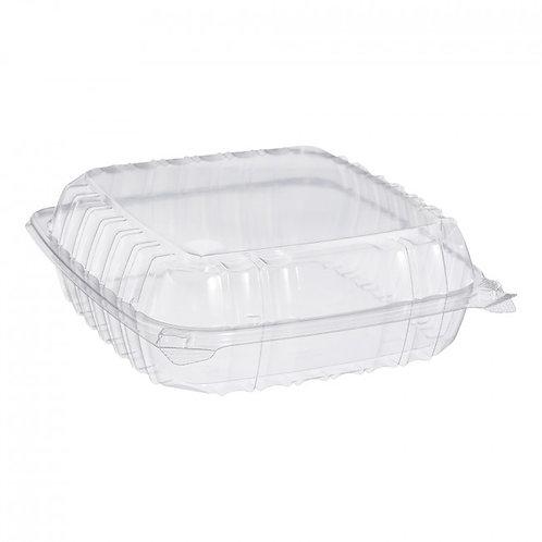 "Dart C95PST1 9"" x 9 1/2"" x 3"" Hinged Lid Plastic Container - 200/Case"