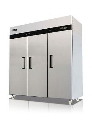 "Migali C-3R-HC 78"" Triple Solid Door Reach-In Refrigerator - 72 Cu. Ft."