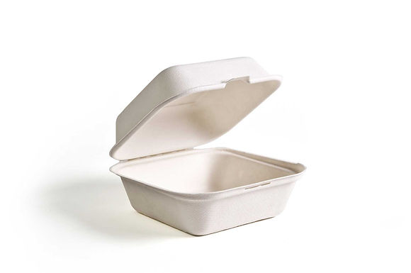 Green Wave 6x6x3-Inch White Bio Bagasse Burger Container , 400/CS