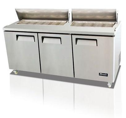 "Migali C-SP72-30BT 72"" Mega Top Bain Marie Sandwich Prep Refrigerator - 30 Pans"