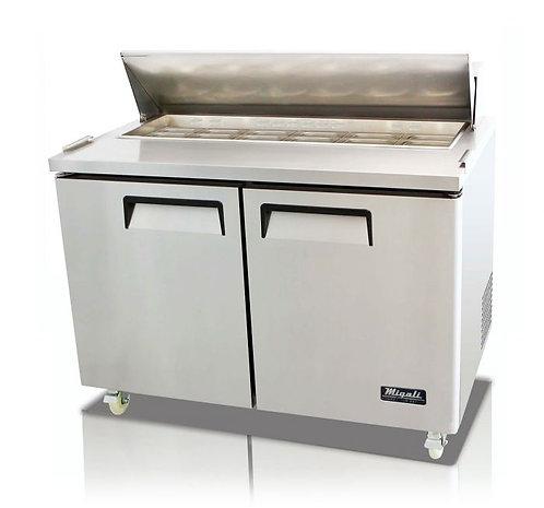 "Migali C-SP48-12 48"" Standard Top Bain Marie Sandwich Prep Refrigerator - 12 Pan"