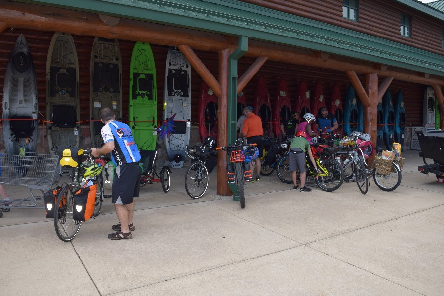 2018 Off-Leash Overnighter bike campers recquisitioning provisions at the Hammond, Indiana Cabela's.