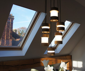 Wooden Pendnat lights London Jojo lamps.